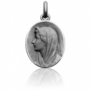 Médaille Vierge au Voile Ovale Or Blanc 18K