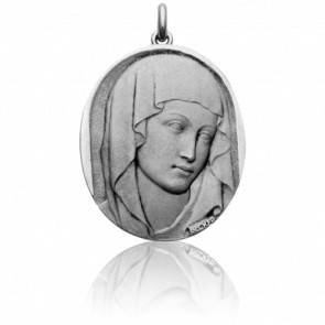 Médaille Vierge XIII Ovale Or Blanc 18K