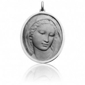 Médaille Vierge Florentine Ovale Or Blanc 18K
