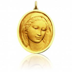 Médaille Vierge Florentine Ovale Or Jaune 18K