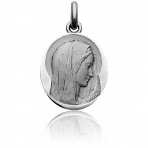 Médaille Vierge Virgo Dulcis Ovale Or Blanc 18K
