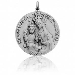 Médaille Vierge du Mont Carmel Or Blanc 18K
