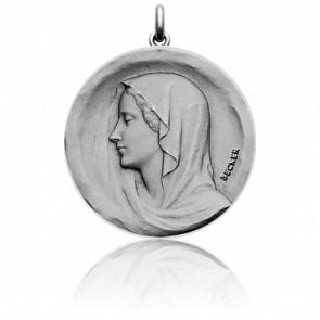 Médaille Vierge Regina Ronde Or Blanc 18K