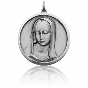 Médaille Vierge Santa Madona Ronde Or Blanc 18K