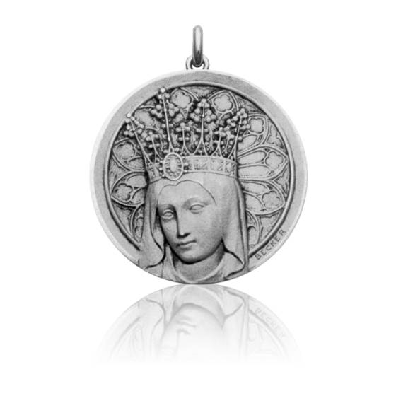 Médaille Vierge Couronnée Ronde Or Blanc 18K