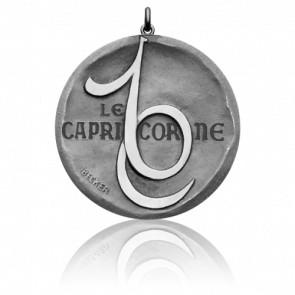 Médaille Zodiaque Signe du Capricorne Or Blanc 18K