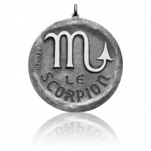 Médaille Zodiaque Signe du Scorpion Or Blanc 18K