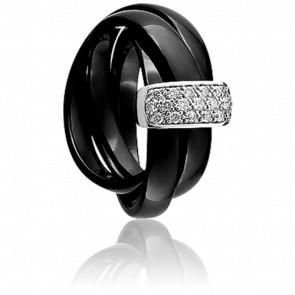 Bague Entourage Noir et Diamants - Jeell