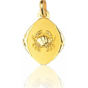 Médaille Zodiaque Facettée Cancer Or Jaune 18K
