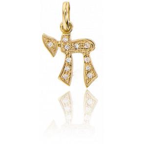 Pendentif Chai Or Jaune 18K & Diamants
