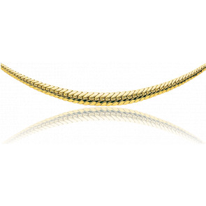 Collier en chute Maille Anglaise creuse 45 cm or jaune 9cts