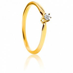 Bague de fiançailles or jaune votre plus belle demande 6 griffes 0.08 carat