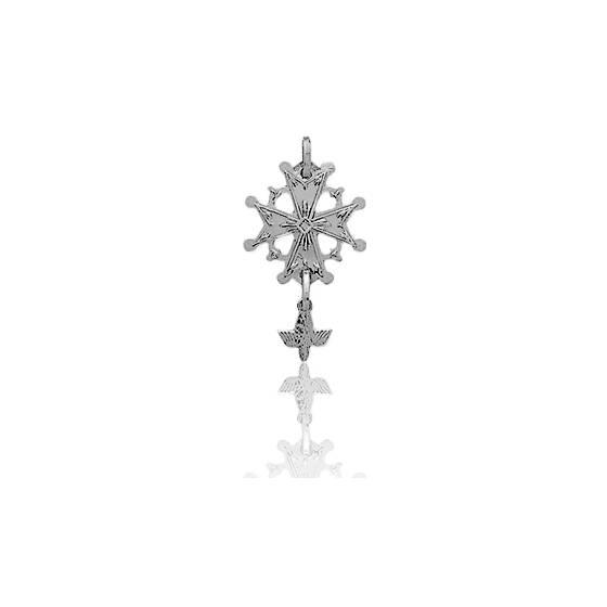 Croix Huguenote 15x26 mm Or Blanc 18K