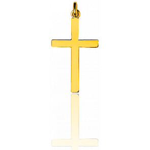 Croix simple grande 19x33 mm  Or Jaune 18K