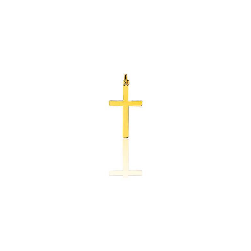 Croix simple grande 19x33 mm  Or Jaune 18K