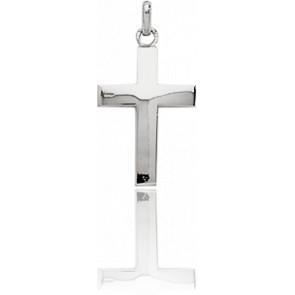Croix 17x27 mm polie Or Blanc 18K