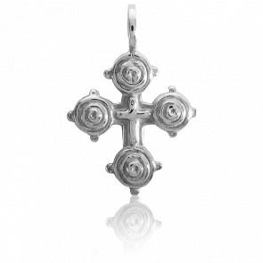 Croix de Gallice 18 x 20 mm en Or Blanc 18K - Tournaire