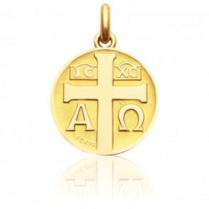Médaille Symbole Croix Or Jaune 18K