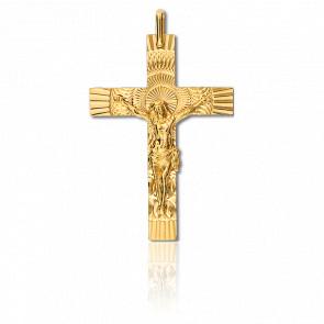 Croix Christ Solaire 21 x 34 mm Or Jaune 9K