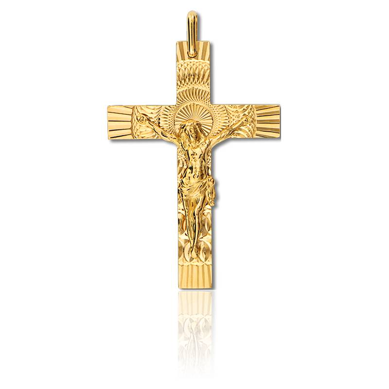 croix christ solaire 21 x 34 mm or jaune 9 carats ocarat. Black Bedroom Furniture Sets. Home Design Ideas