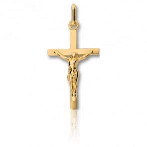 Christ en Croix Plate et Fine Or Jaune
