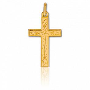 Croix Fleurie 16 x 26 mm Or Jaune