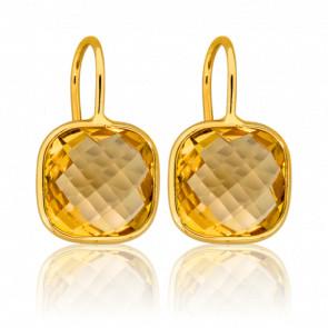 Boucles d'oreilles dormeuses, citrine et or jaune 18 carats