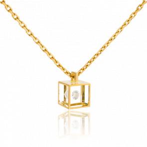 Collier Micro Cube or jaune et diamant 0.03 carat