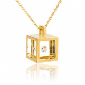 Collier Cube or jaune et diamant 0.10 carat