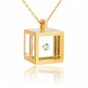 Collier Maxi Cube Or Jaune et Diamant 0.15 carat