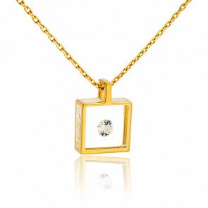 Collier Micro Carré or jaune et diamant 0.10 carat