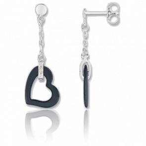 Boucles d'oreilles Simply Coeur Céramique Noire - Ultimate Ceramic