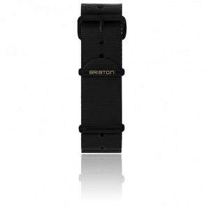 Bracelet Nato 20mm Noir, Longueur 280mm, boucle PVD Noir