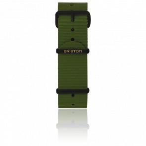 Bracelet Nato 20mm Vert militaire, Longueur 280mm, boucle PVD Noir