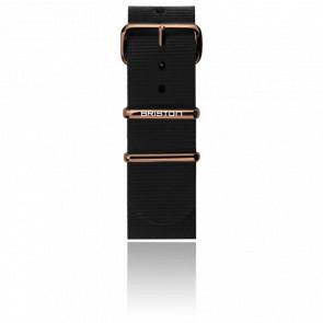 Bracelet Nato 20mm Noir, Longueur 245mm, boucle PVD Or Rose