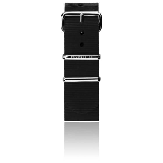Bracelet Nato 20mm Noir, Longueur 245mm, boucle acier