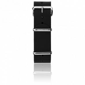 Bracelet Nato 20mm Noir, Longueur 280mm, boucle acier