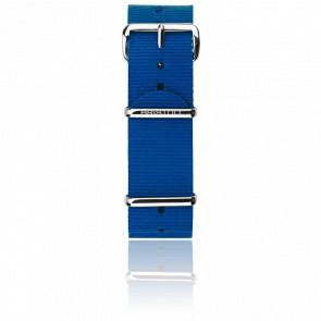 Bracelet Nato 20mm Bleu, Longueur 280mm, boucle acier