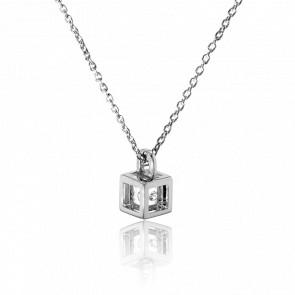 Collier Mini Cube Argent et Diamant 0.01 carat