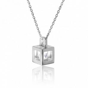 Collier Micro Cube argent et diamant 0.03 carat