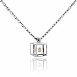 Collier Micro Cube or blanc et diamant 0.03 carat