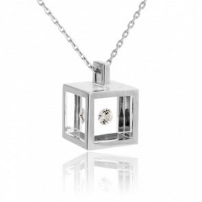Collier Cube Or Blanc et Diamant 0.10 carat
