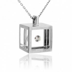 Collier Maxi Cube Or Blanc et Diamant 0.15 carat