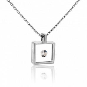 Collier Micro Carré or blanc et diamant 0.10 carat