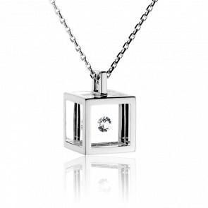 Collier Cube Argent et Diamant 0.10 carat