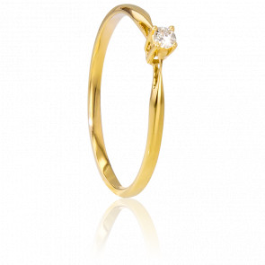 Bague Solitaire Paris Or Jaune & Diamant 0,04ct