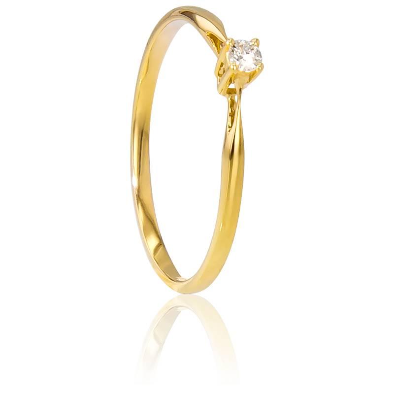 Bague Solitaire Paris Or Jaune & Diamant 0,04ct