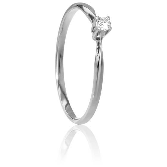 Bague Solitaire Paris Or Blanc & Diamant 0,04ct