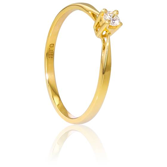 Bague Solitaire Paris Or Jaune & Diamant 0,08ct