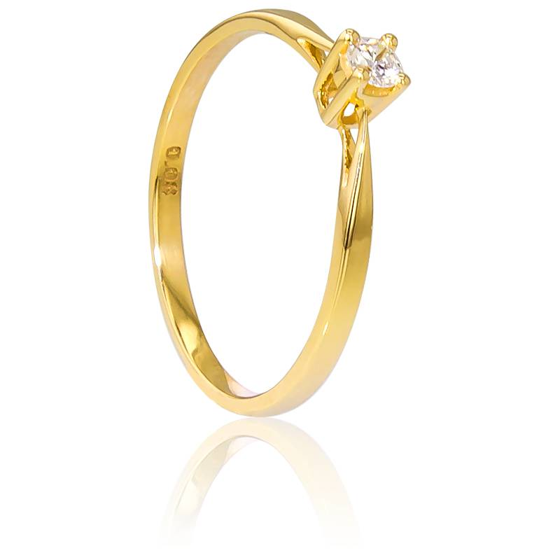 Bague Solitaire Paris Or Jaune & Diamant 0,08ct